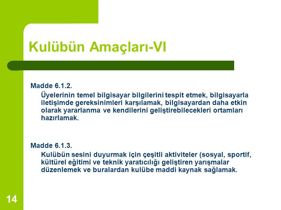 Kulübün Amaçları-VI Madde 6.1.2.