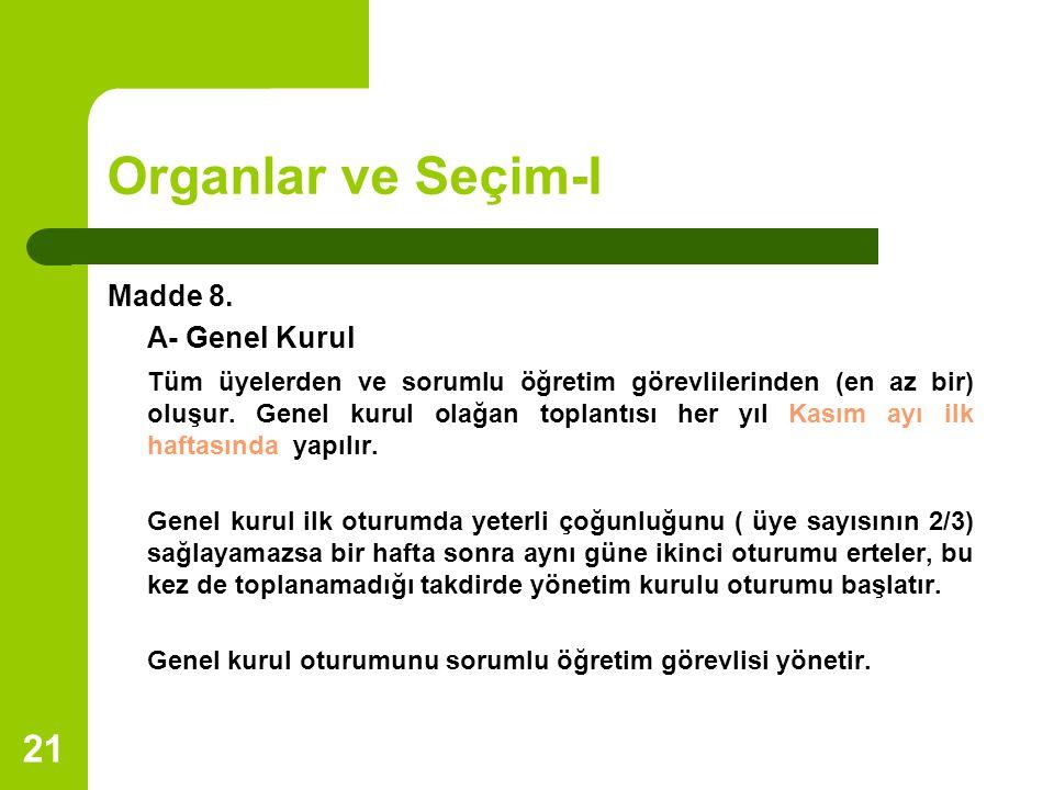 Organlar ve Seçim-I Madde 8. A- Genel Kurul