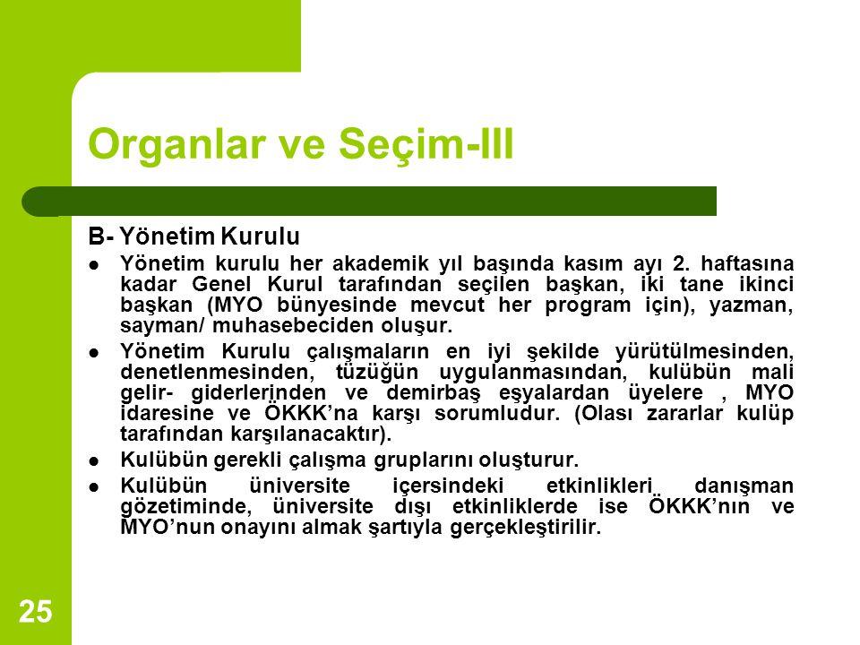 Organlar ve Seçim-III B- Yönetim Kurulu