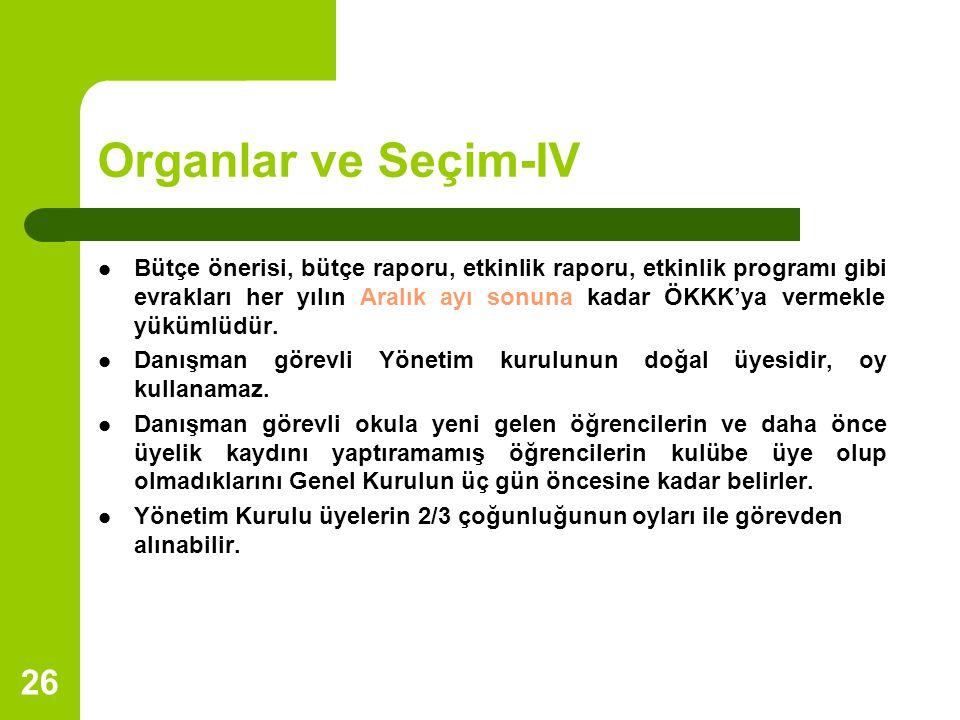Organlar ve Seçim-IV