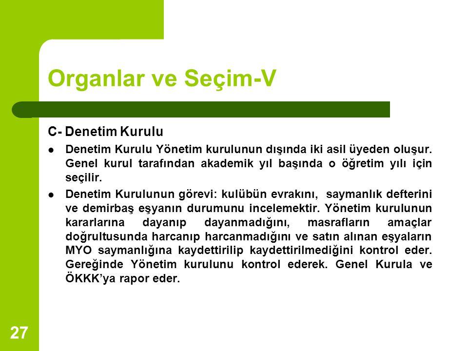 Organlar ve Seçim-V C- Denetim Kurulu