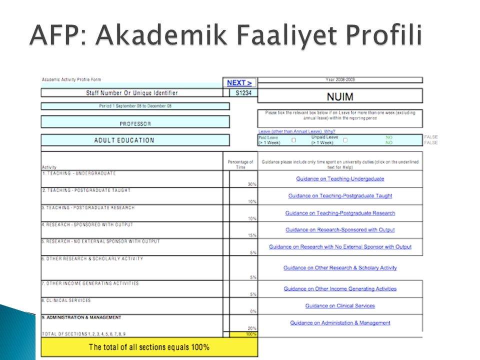 AFP: Akademik Faaliyet Profili