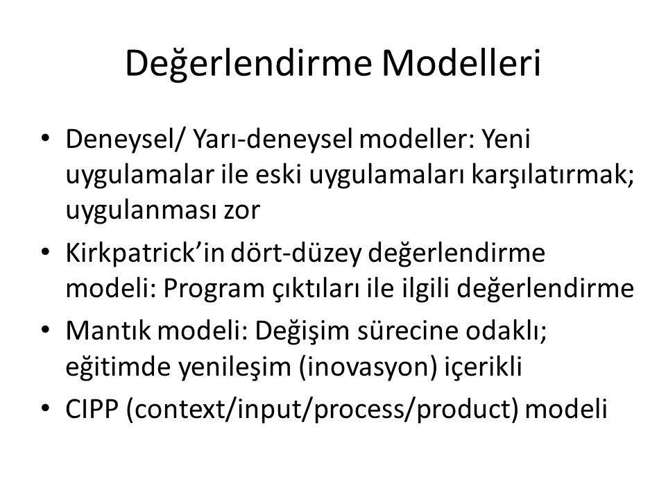 Değerlendirme Modelleri