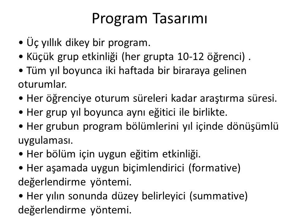 Program Tasarımı • Üç yıllık dikey bir program.
