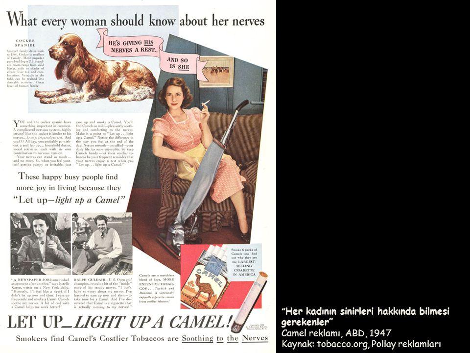 Her kadının sinirleri hakkında bilmesi gerekenler Camel reklamı, ABD, 1947 Kaynak: tobacco.org, Pollay reklamları