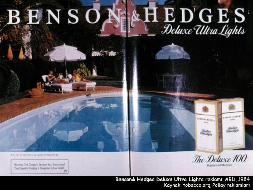 Benson& Hedges Deluxe Ultra Lights reklamı, ABD, 1984