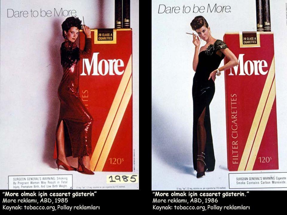 More olmak için cesaret gösterin More reklamı, ABD, 1985 Kaynak: tobacco.org, Pollay reklamları