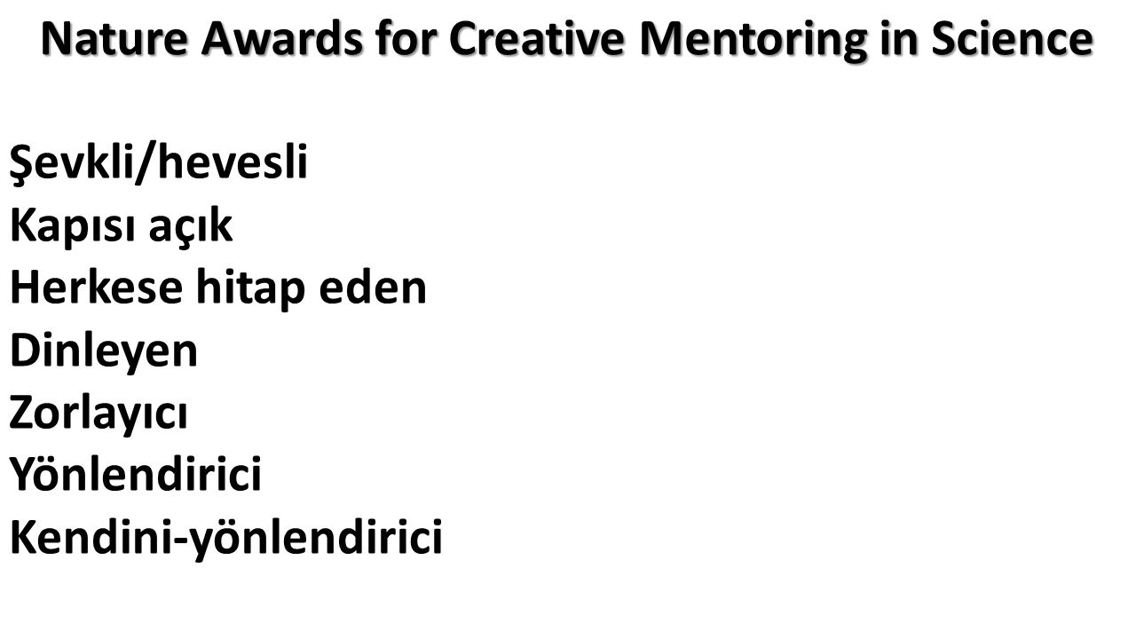Nature Awards for Creative Mentoring in Science