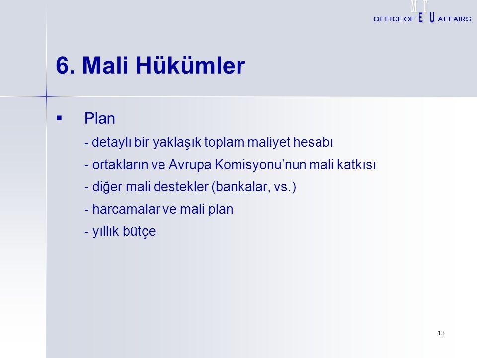6. Mali Hükümler Plan - detaylı bir yaklaşık toplam maliyet hesabı
