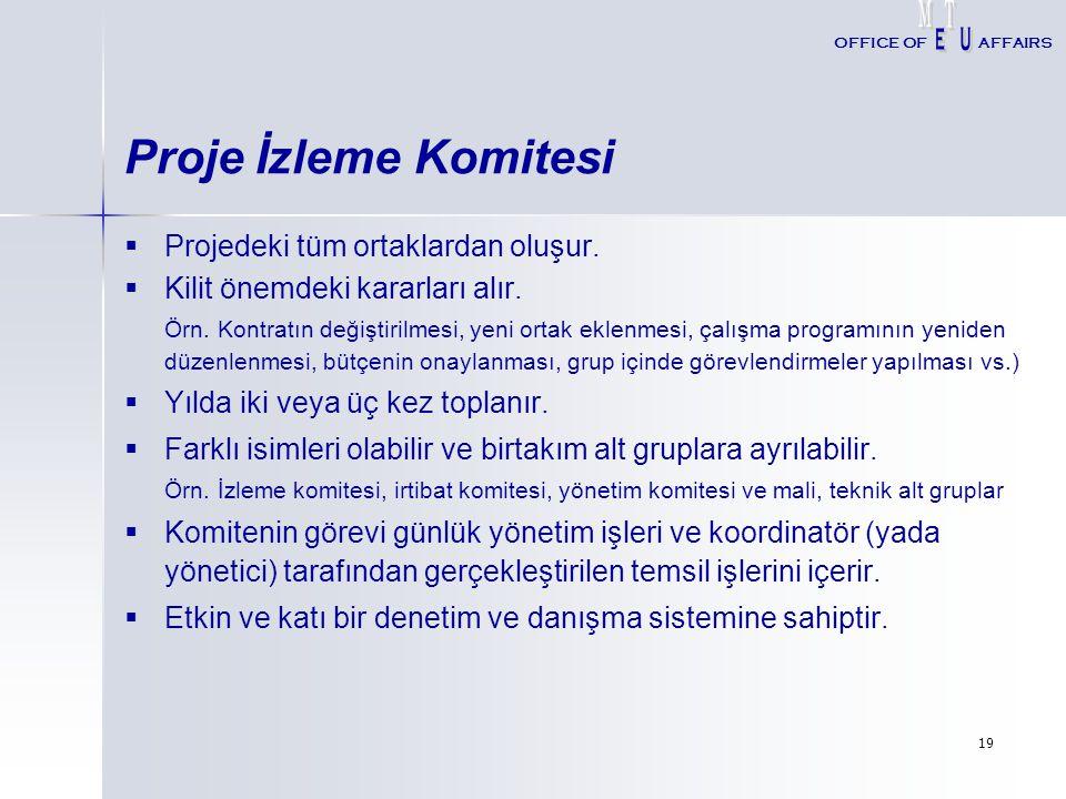 Proje İzleme Komitesi Projedeki tüm ortaklardan oluşur.