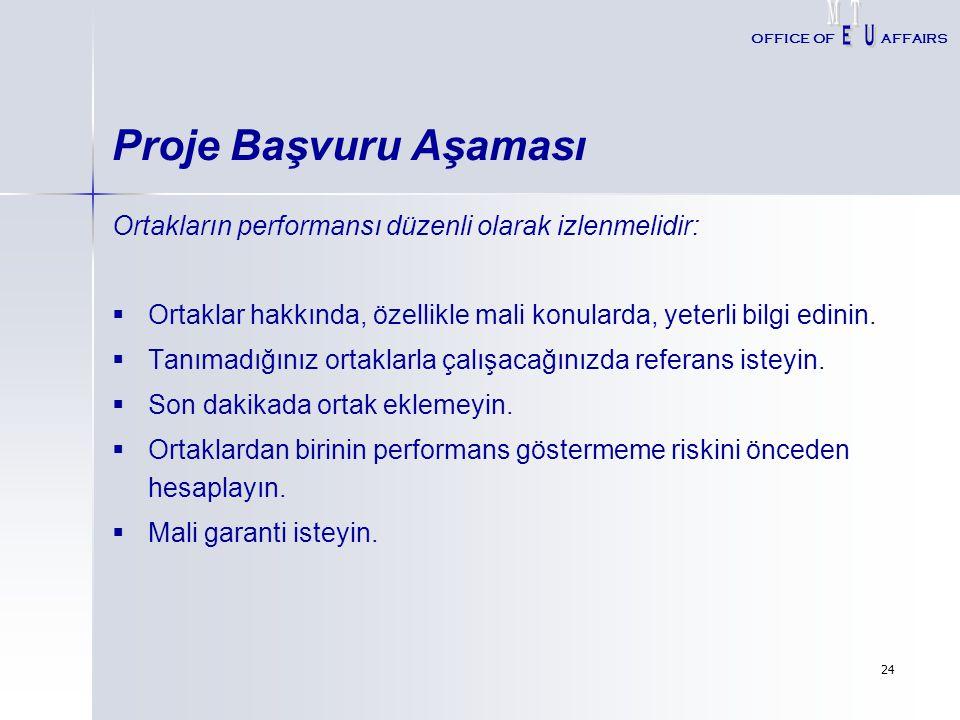 M T. E. U. OFFICE OF. AFFAIRS. Proje Başvuru Aşaması. Ortakların performansı düzenli olarak izlenmelidir:
