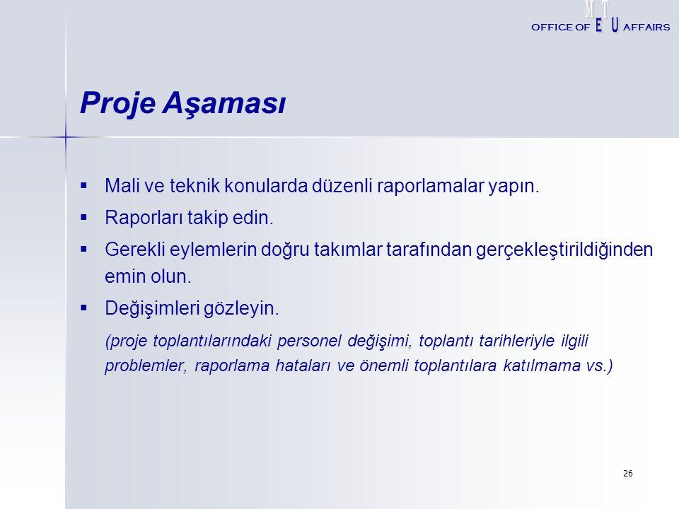 Proje Aşaması Mali ve teknik konularda düzenli raporlamalar yapın.
