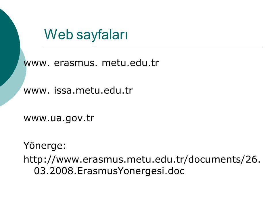 Web sayfaları www. erasmus. metu.edu.tr www. issa.metu.edu.tr