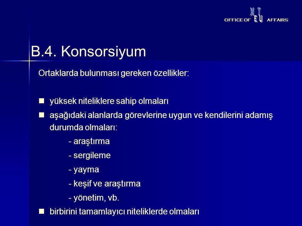 B.4. Konsorsiyum Ortaklarda bulunması gereken özellikler: