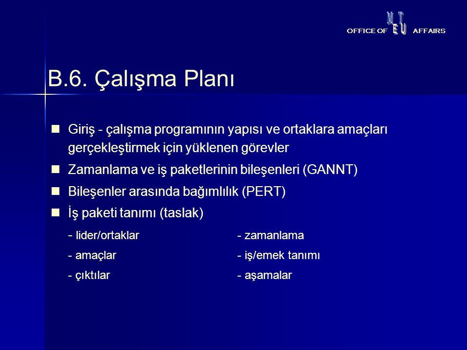 M T. E. U. OFFICE OF. AFFAIRS. B.6. Çalışma Planı.