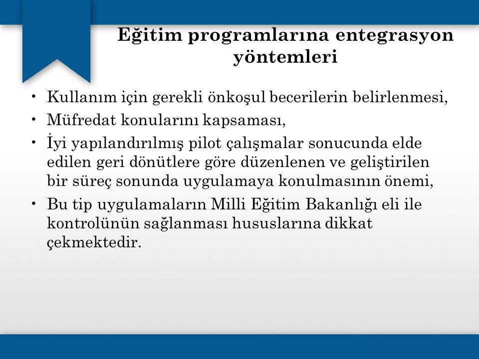 Eğitim programlarına entegrasyon yöntemleri