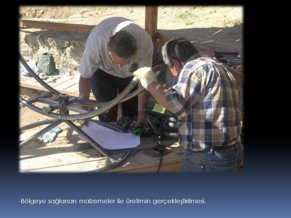 -Bölgeye sağlanan malzemeler ile üretimin gerçekleştirilmesi.
