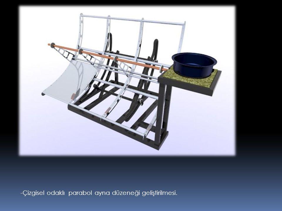 -Çizgisel odaklı parabol ayna düzeneği geliştirilmesi.