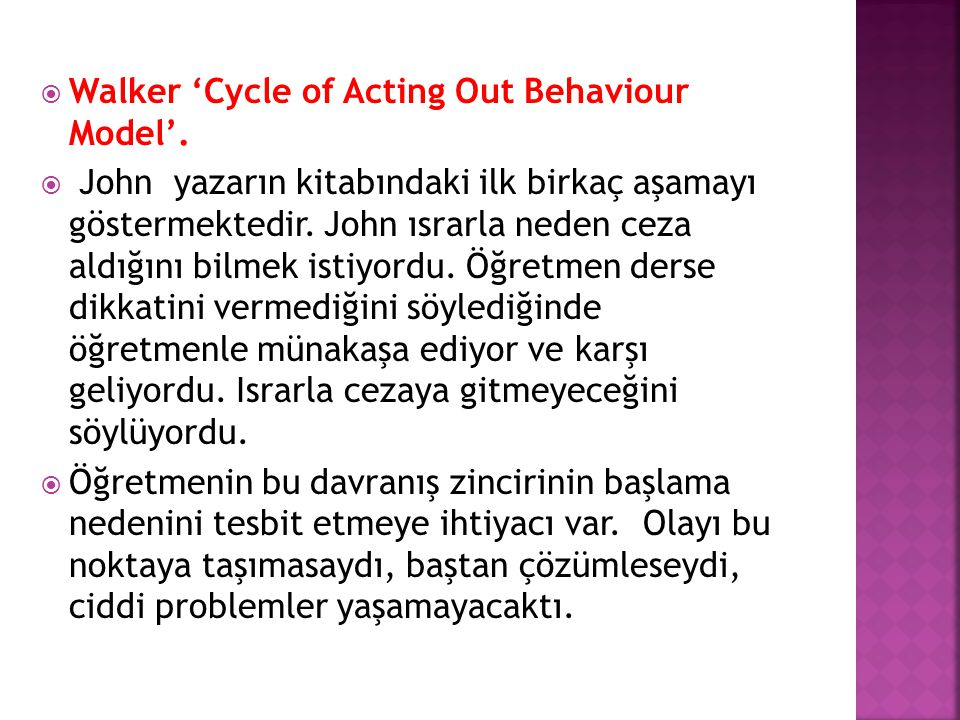 Walker 'Cycle of Acting Out Behaviour Model'.