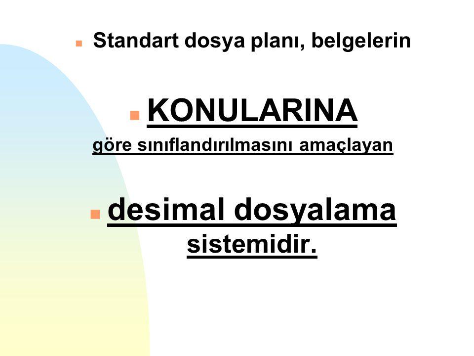 KONULARINA desimal dosyalama sistemidir.