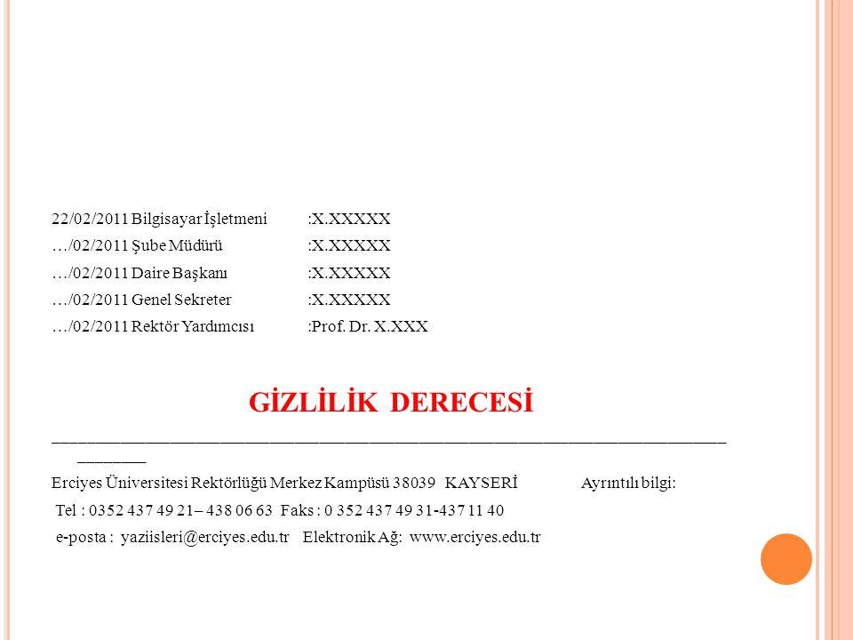 GİZLİLİK DERECESİ 22/02/2011 Bilgisayar İşletmeni :X.XXXXX