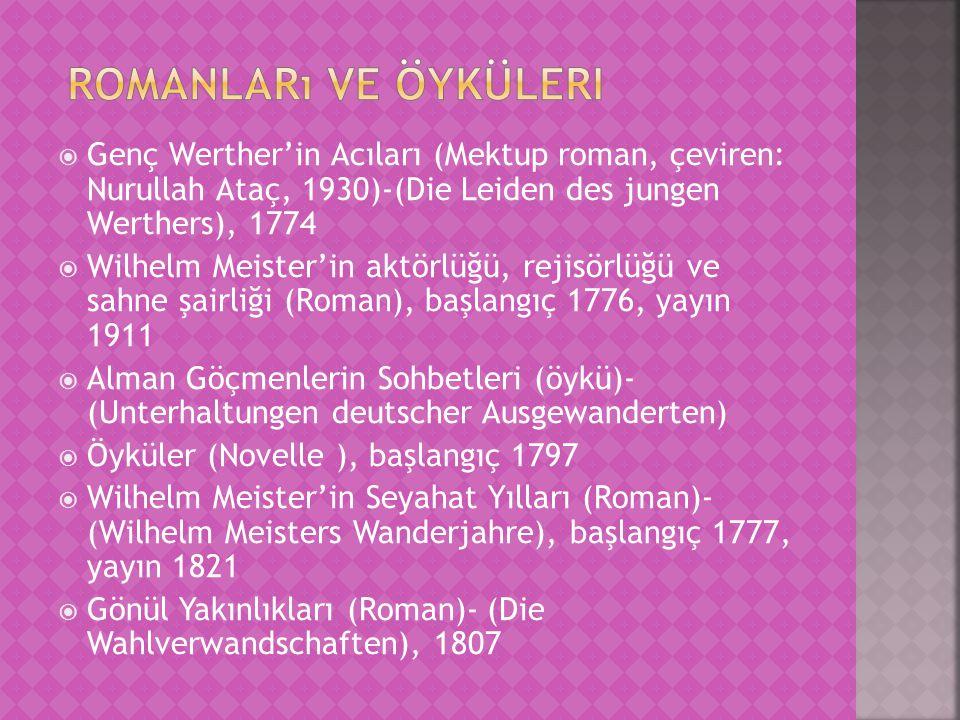 Romanları ve öyküleri Genç Werther'in Acıları (Mektup roman, çeviren: Nurullah Ataç, 1930)-(Die Leiden des jungen Werthers), 1774.