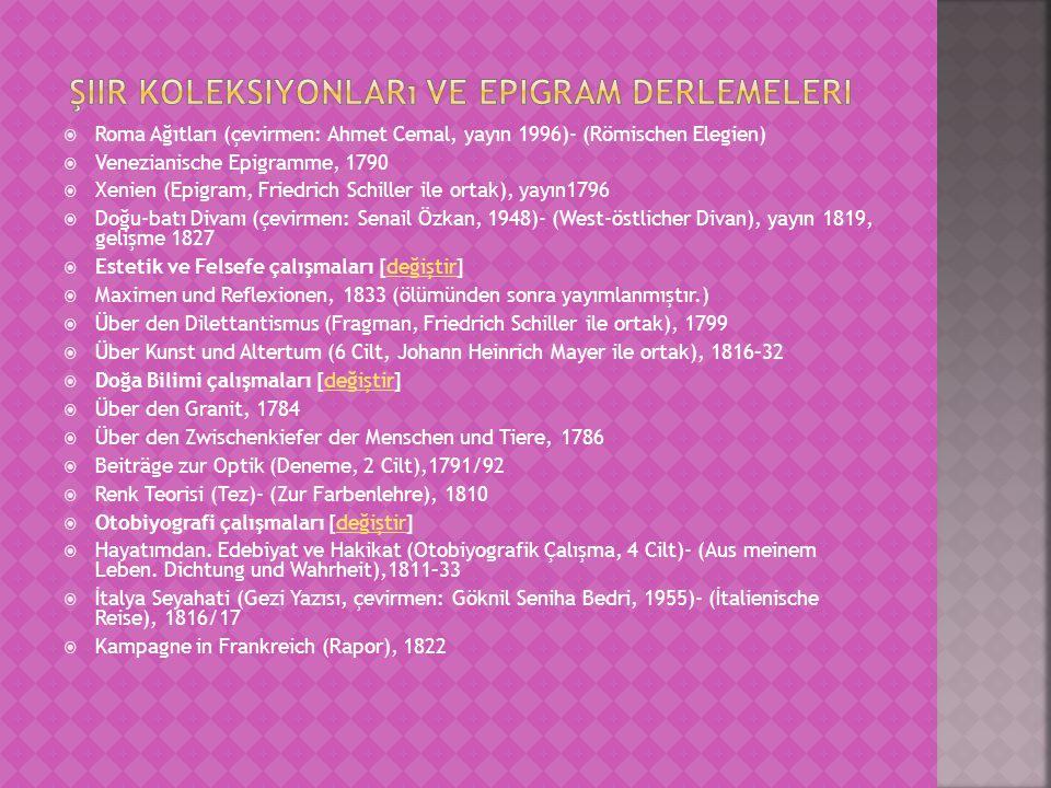 Şiir koleksiyonları ve epigram derlemeleri