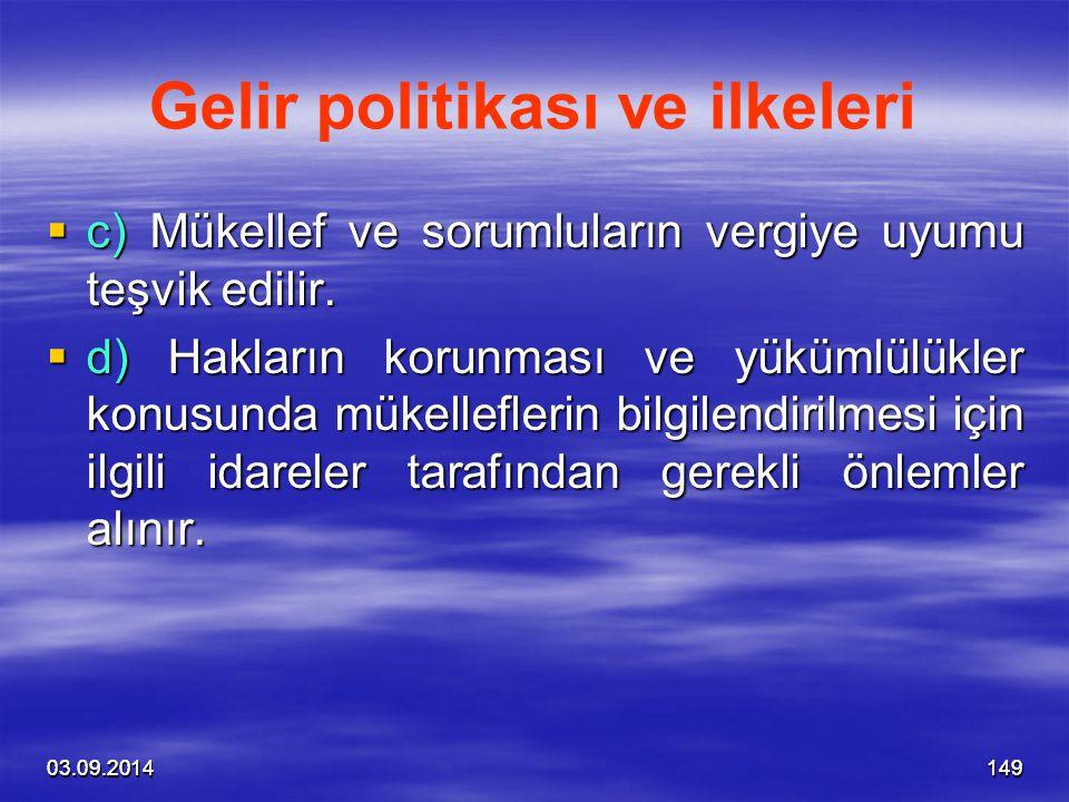 Gelir politikası ve ilkeleri