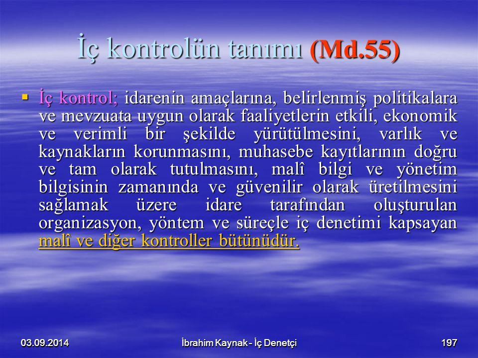 İç kontrolün tanımı (Md.55)