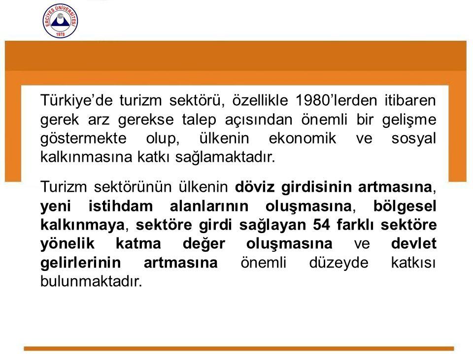 Türkiye'de turizm sektörü, özellikle 1980'lerden itibaren gerek arz gerekse talep açısından önemli bir gelişme göstermekte olup, ülkenin ekonomik ve sosyal kalkınmasına katkı sağlamaktadır.