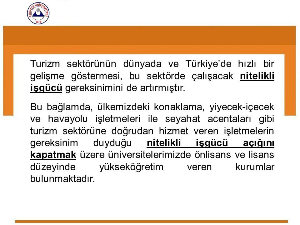 Turizm sektörünün dünyada ve Türkiye'de hızlı bir gelişme göstermesi, bu sektörde çalışacak nitelikli işgücü gereksinimini de artırmıştır.