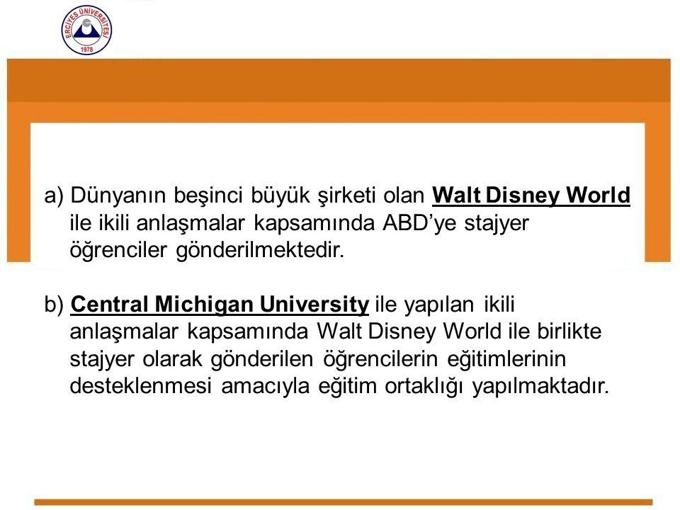 a) Dünyanın beşinci büyük şirketi olan Walt Disney World ile ikili anlaşmalar kapsamında ABD'ye stajyer öğrenciler gönderilmektedir.