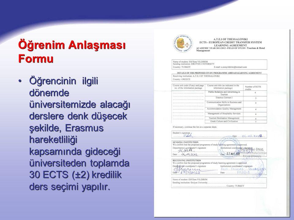 Öğrenim Anlaşması Formu