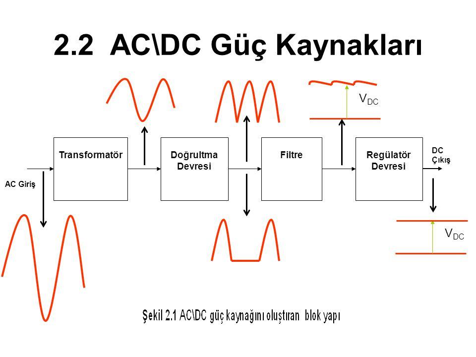 2.2 AC\DC Güç Kaynakları VDC VDC Transformatör Doğrultma Devresi