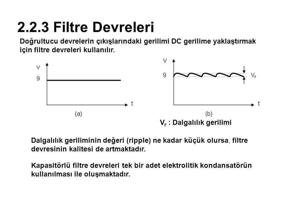 2.2.3 Filtre Devreleri Doğrultucu devrelerin çıkışlarındaki gerilimi DC gerilime yaklaştırmak için filtre devreleri kullanılır.