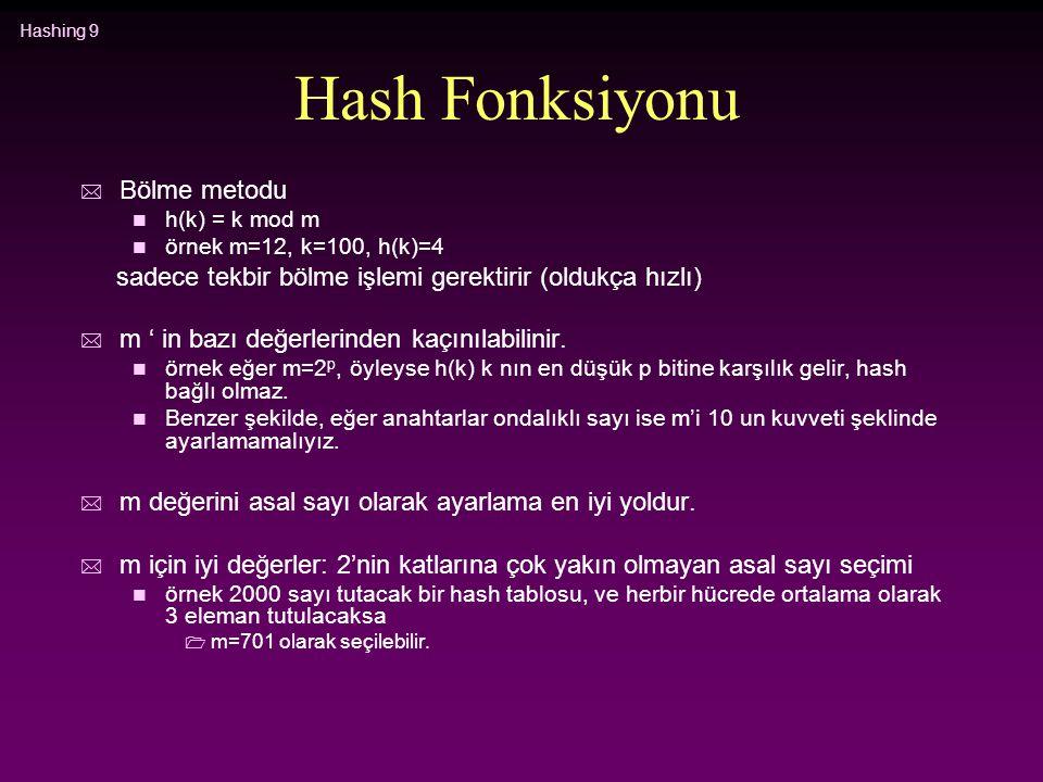 Hash Fonksiyonu Bölme metodu