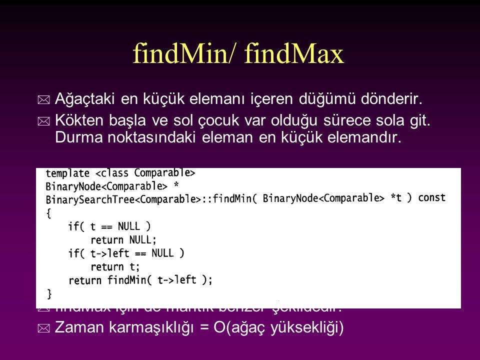 findMin/ findMax Ağaçtaki en küçük elemanı içeren düğümü dönderir.