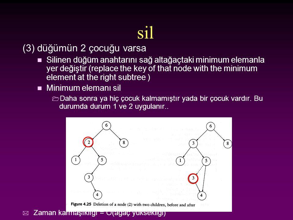 sil (3) düğümün 2 çocuğu varsa