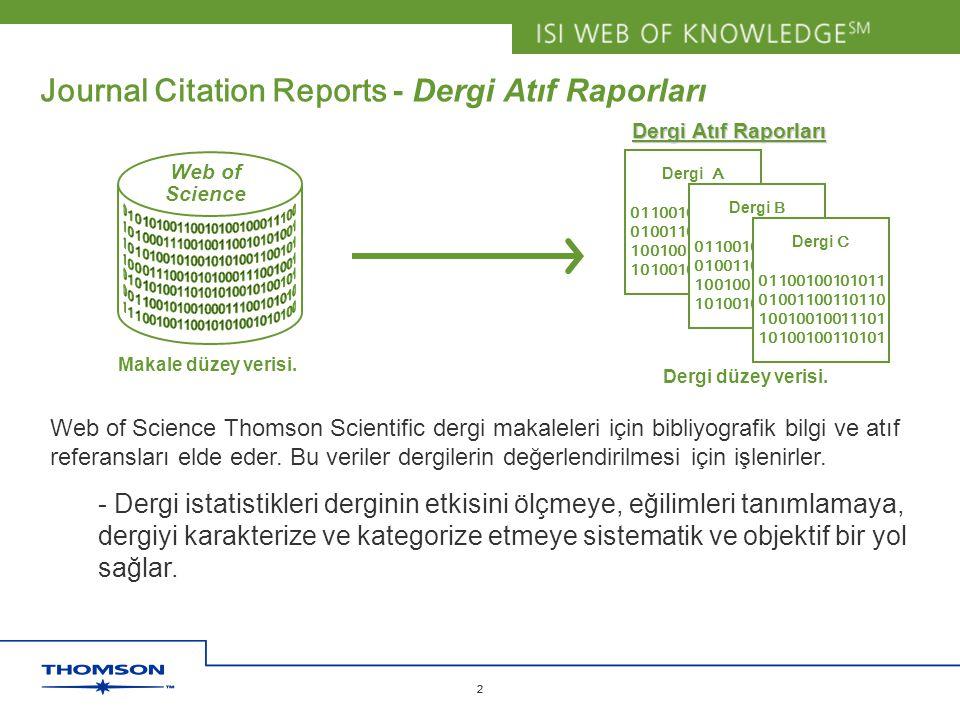 Journal Citation Reports - Dergi Atıf Raporları