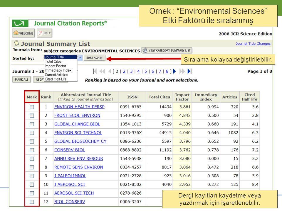 Örnek : Environmental Sciences Etki Faktörü ile sıralanmış