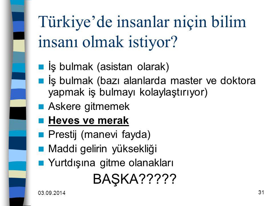 Türkiye'de insanlar niçin bilim insanı olmak istiyor
