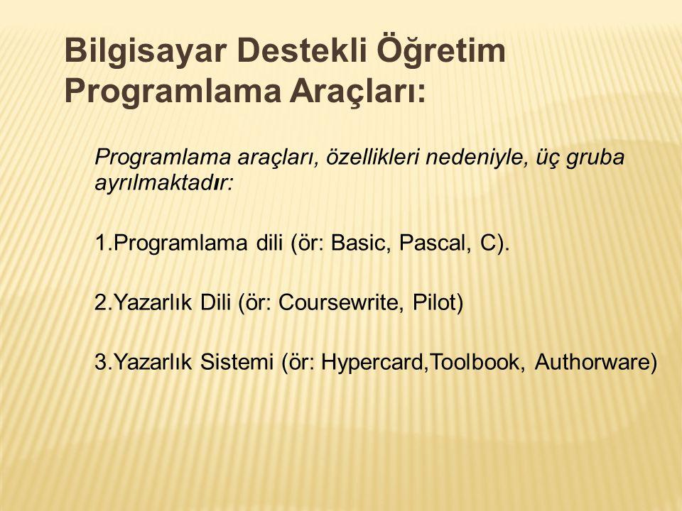Bilgisayar Destekli Öğretim Programlama Araçları: