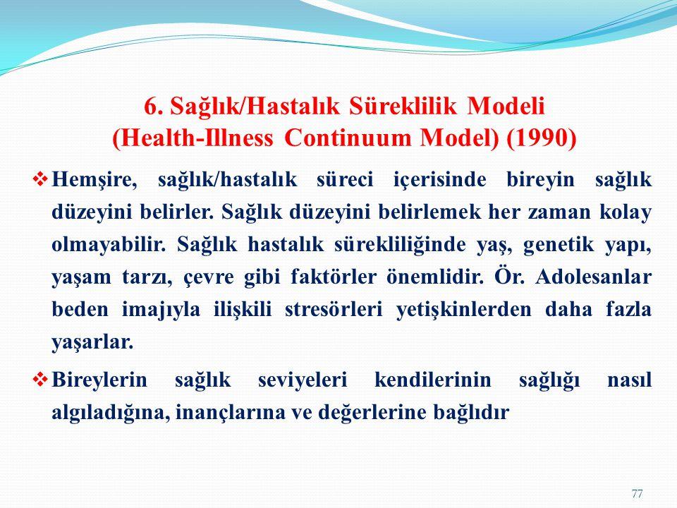6. Sağlık/Hastalık Süreklilik Modeli (Health-Illness Continuum Model) (1990)