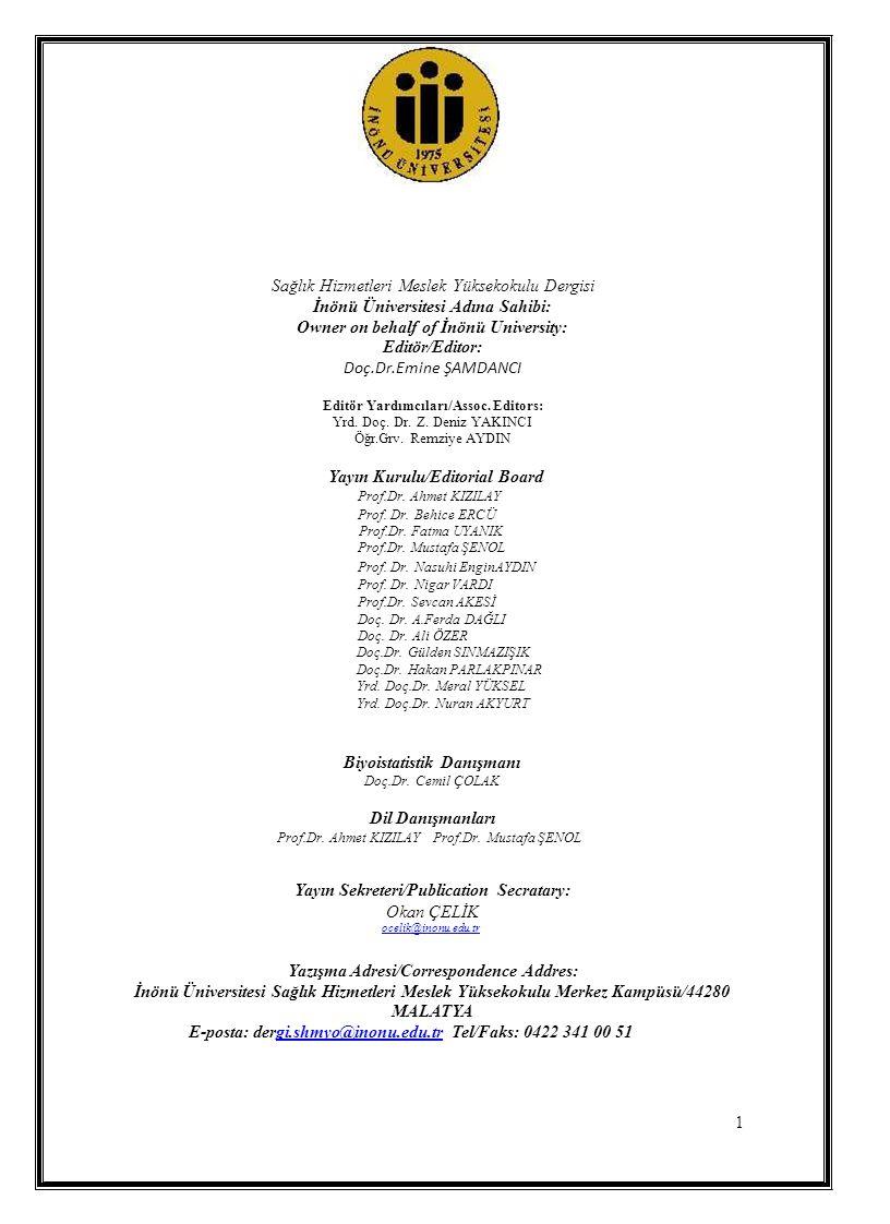 Doç.Dr.Emine ŞAMDANCI Sağlık Hizmetleri Meslek Yüksekokulu Dergisi