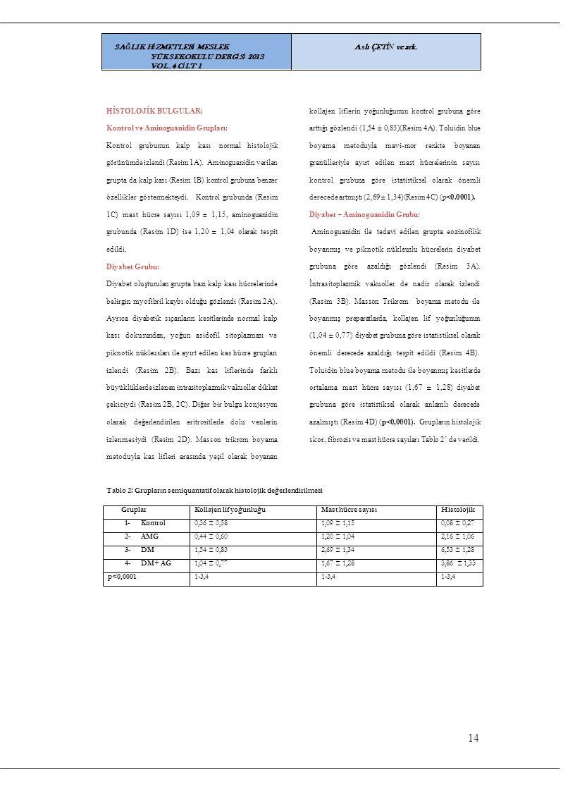 14 SAĞLIK HİZMETLERİ MESLEK YÜKSEKOKULU DERGİSİ 2013 VOL.4 CİLT 1
