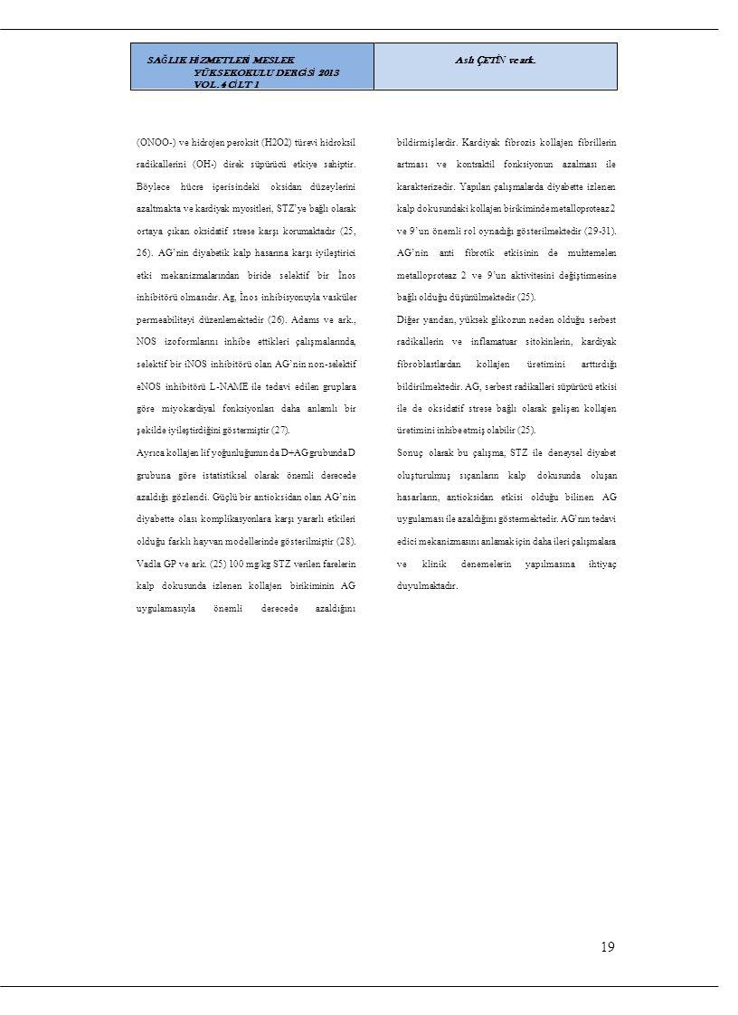 19 SAĞLIK HİZMETLERİ MESLEK YÜKSEKOKULU DERGİSİ 2013 VOL.4 CİLT 1