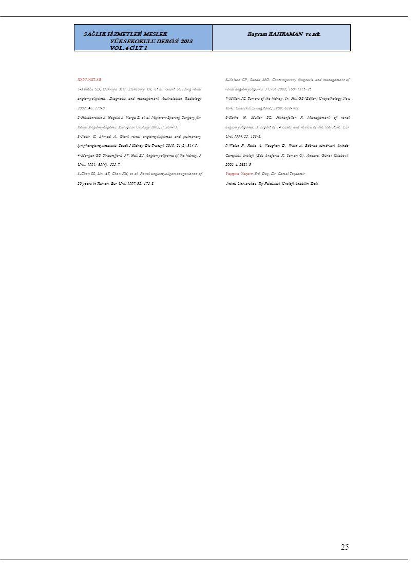 25 SAĞLIK HİZMETLERİ MESLEK YÜKSEKOKULU DERGİSİ 2013 VOL.4 CİLT 1