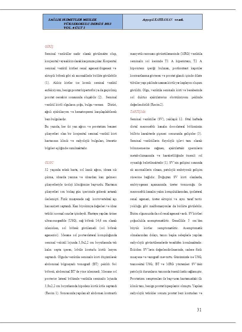 31 SAĞLIK HİZMETLERİ MESLEK YÜKSEKOKULU DERGİSİ 2013 VOL.4 CİLT 1