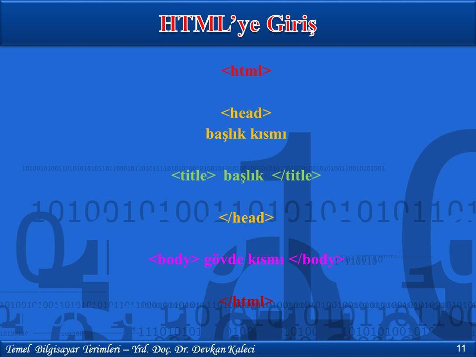 HTML'ye Giriş <html> <head> başlık kısmı