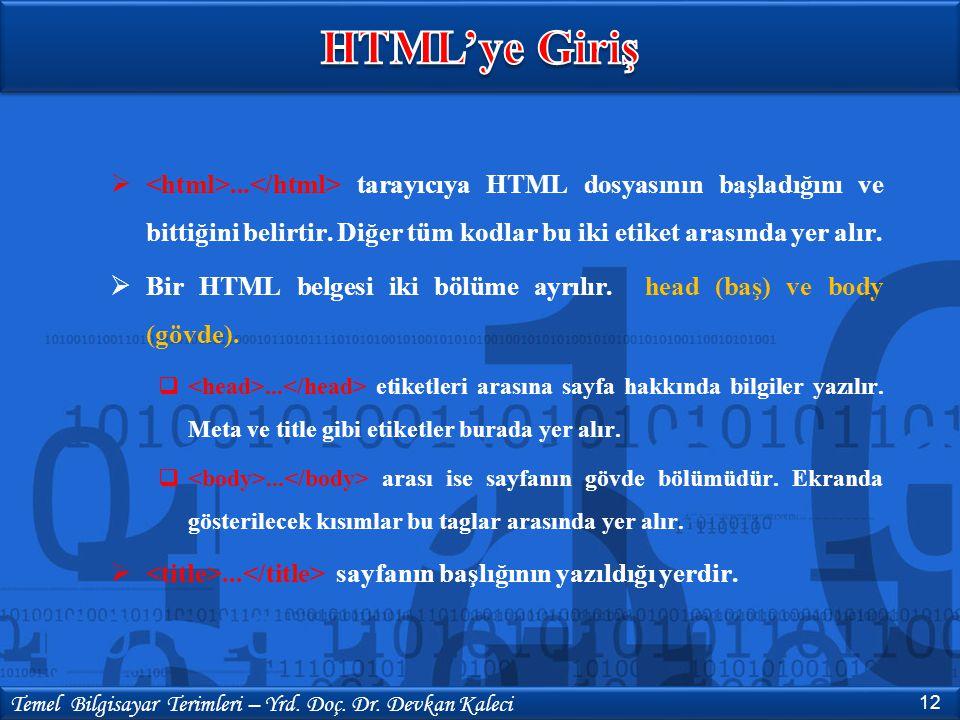 HTML'ye Giriş <html>...</html> tarayıcıya HTML dosyasının başladığını ve bittiğini belirtir. Diğer tüm kodlar bu iki etiket arasında yer alır.